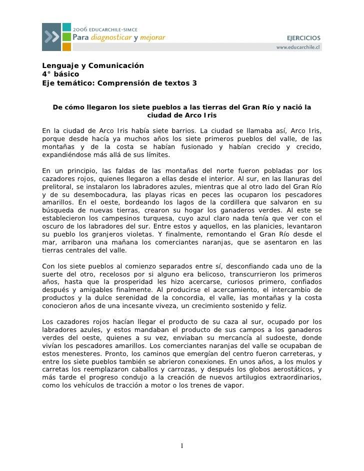 Lenguaje y Comunicación 4° básico Eje temático: Comprensión de textos 3      De cómo llegaron los siete pueblos a las tier...