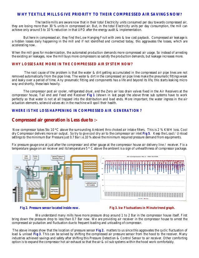 Compressed air Energy saving possibilities in textile mills