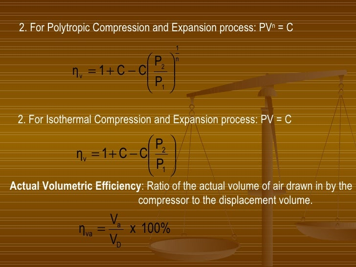 2. For Polytropic Compression and Expansion process: PV n  = C 2. For Isothermal Compression and Expansion process: PV = C...