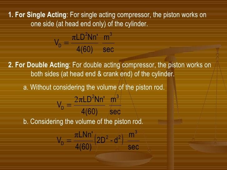 <ul><li>1. For Single Acting : For single acting compressor, the piston works on  </li></ul><ul><ul><li>one side (at head ...