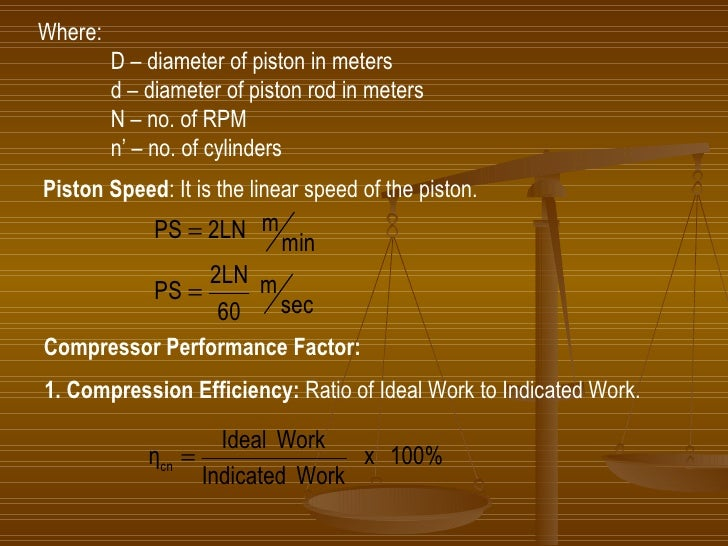 Where: D – diameter of piston in meters d – diameter of piston rod in meters N – no. of RPM n' – no. of cylinders Piston S...
