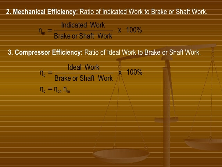 2. Mechanical Efficiency:  Ratio of Indicated Work to Brake or Shaft Work. 3. Compressor Efficiency:  Ratio of Ideal Work ...