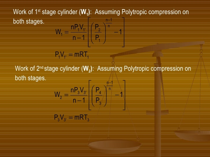 Work of 1 st  stage cylinder ( W 1 ) :  Assuming Polytropic compression on  both stages. Work of 2 nd  stage cylinder ( W ...