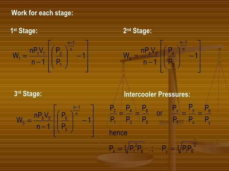 Work for each stage: 1 st  Stage: 2 nd  Stage: 3 rd  Stage: Intercooler Pressures: