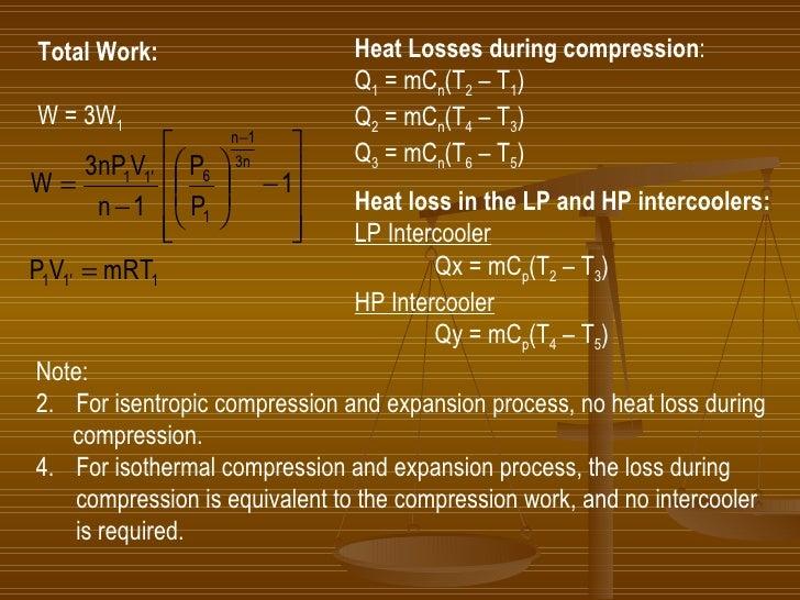 Heat Losses during compression : Q 1  = mC n (T 2  – T 1 ) Q 2  = mC n (T 4  – T 3 ) Q 3  = mC n (T 6  – T 5 ) Heat loss i...