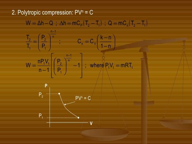 2. Polytropic compression: PV n  = C  P V P 2 P 1 PV n  = C