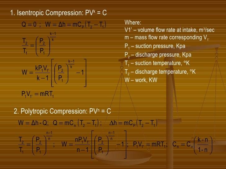 1. Isentropic Compression: PV k  = C Where: V1' – volume flow rate at intake, m 3 /sec m – mass flow rate corresponding V ...