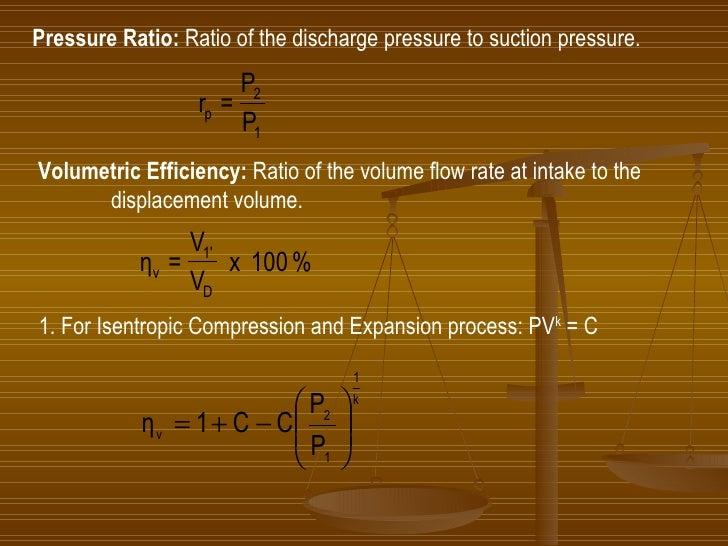 Pressure Ratio:  Ratio of the discharge pressure to suction pressure. Volumetric Efficiency:  Ratio of the volume flow rat...