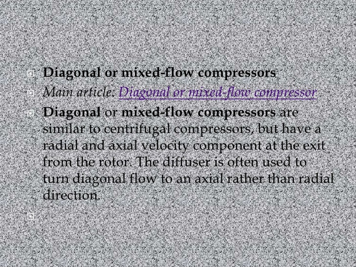 Mixed Flow Compressor : Compressor