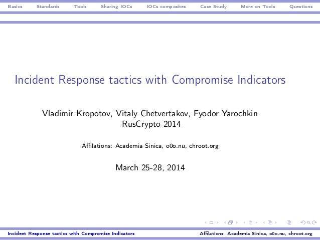 Basics Standards Tools Sharing IOCs IOCs composites Case Study More on Tools Questions Incident Response tactics with Comp...