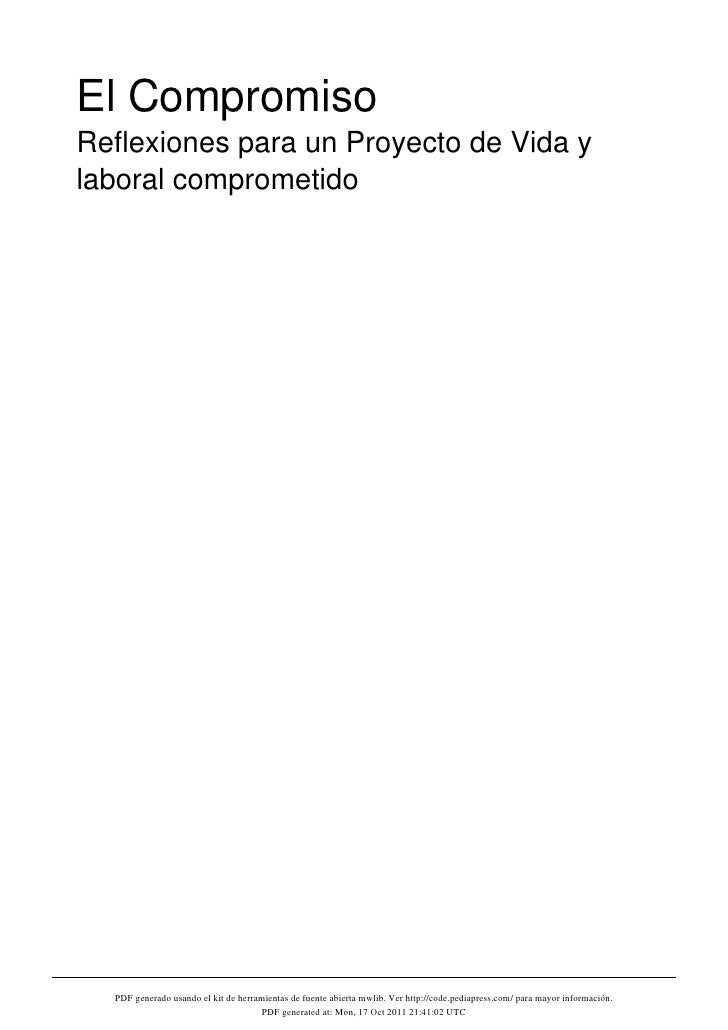 El CompromisoReflexiones para un Proyecto de Vida ylaboral comprometido  PDF generado usando el kit de herramientas de fue...