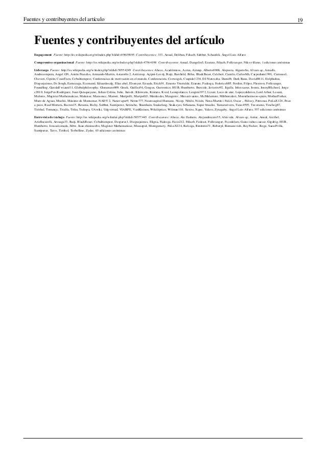 Fuentes y contribuyentes del artículo 19Fuentes y contribuyentes del artículoEngagement Fuente: http://es.wikipedia.org/w...