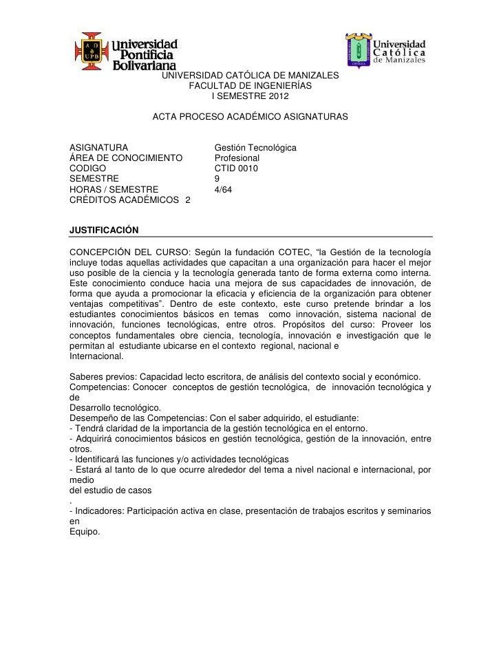 UNIVERSIDAD CATÓLICA DE MANIZALES                            FACULTAD DE INGENIERÍAS                                I SEME...