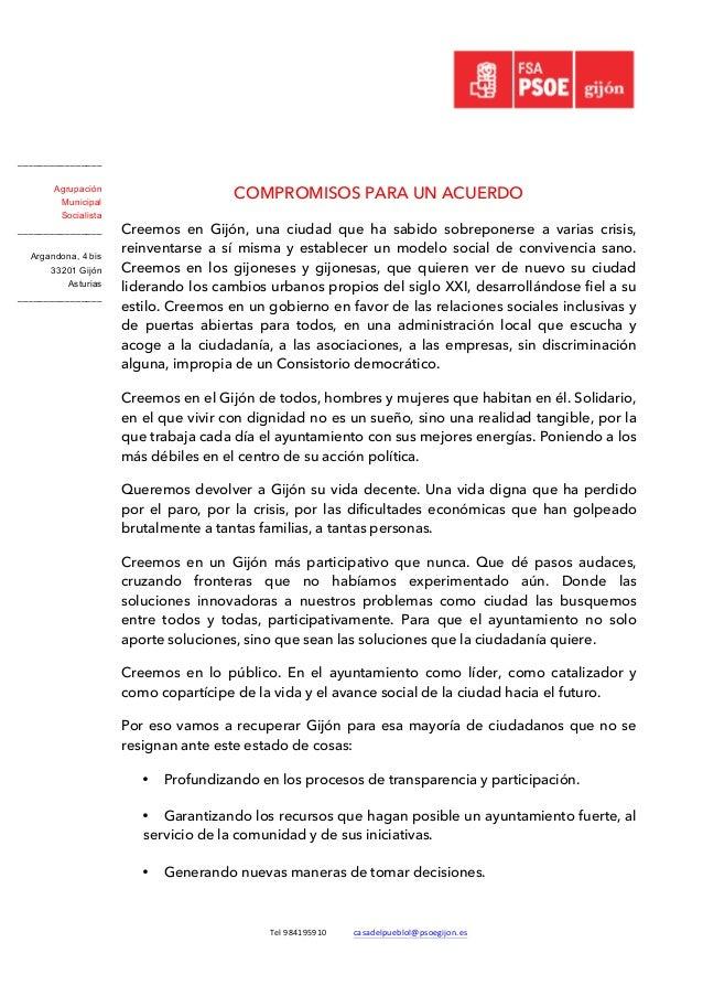 Tel  984195910   casadelpueblol@psoegijon.es   COMPROMISOS PARA UN ACUERDO   Creemos en Gijón, una ciudad que ha...