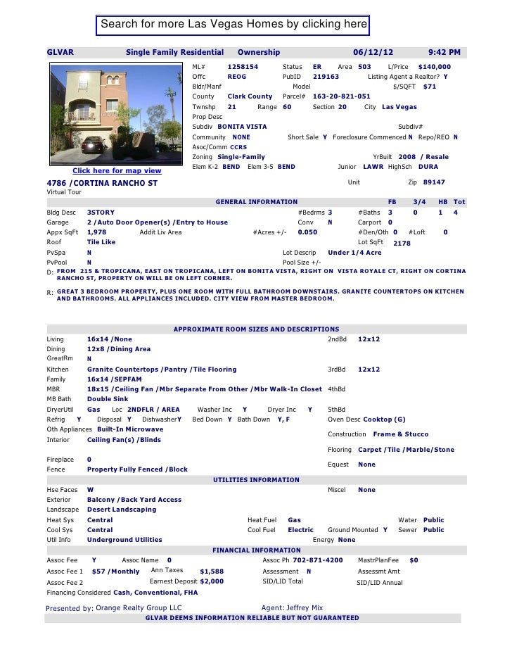 Search for more Las Vegas Homes by clicking hereGLVAR                  Single Family Residential        Ownership         ...