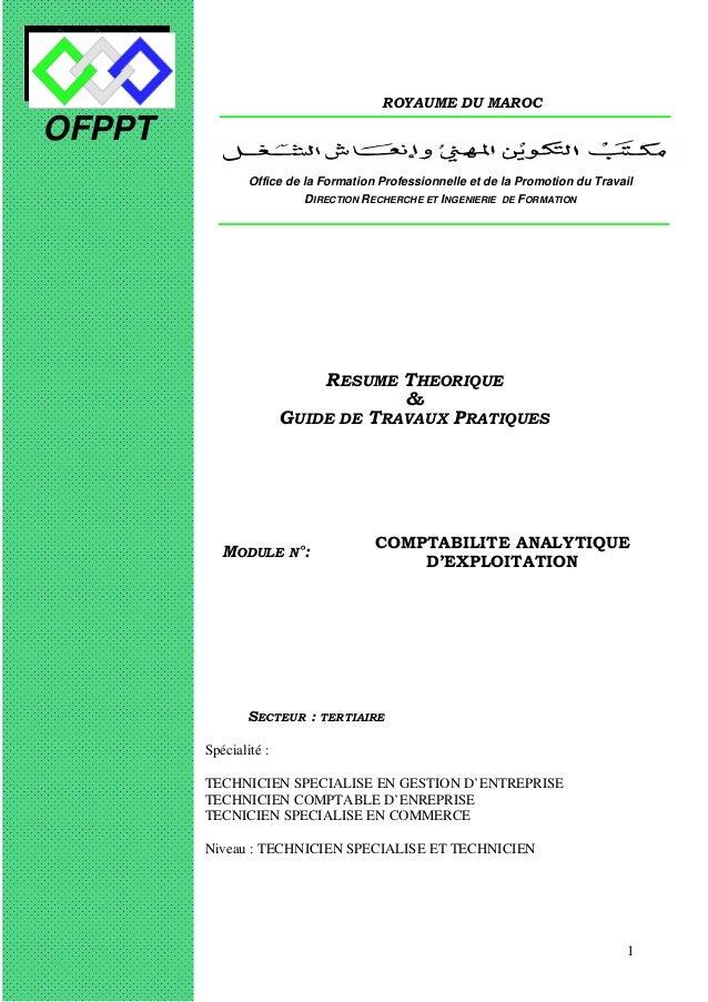 OFPPT  ROYAUME DU MAROC  Office de la Formation Professionnelle et de la Promotion du Travail  DIRECTION RECHERCHE ET INGE...