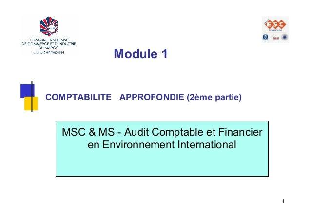 Module 1COMPTABILITE APPROFONDIE (2ème partie)   MSC & MS - Audit Comptable et Financier       en Environnement Internatio...