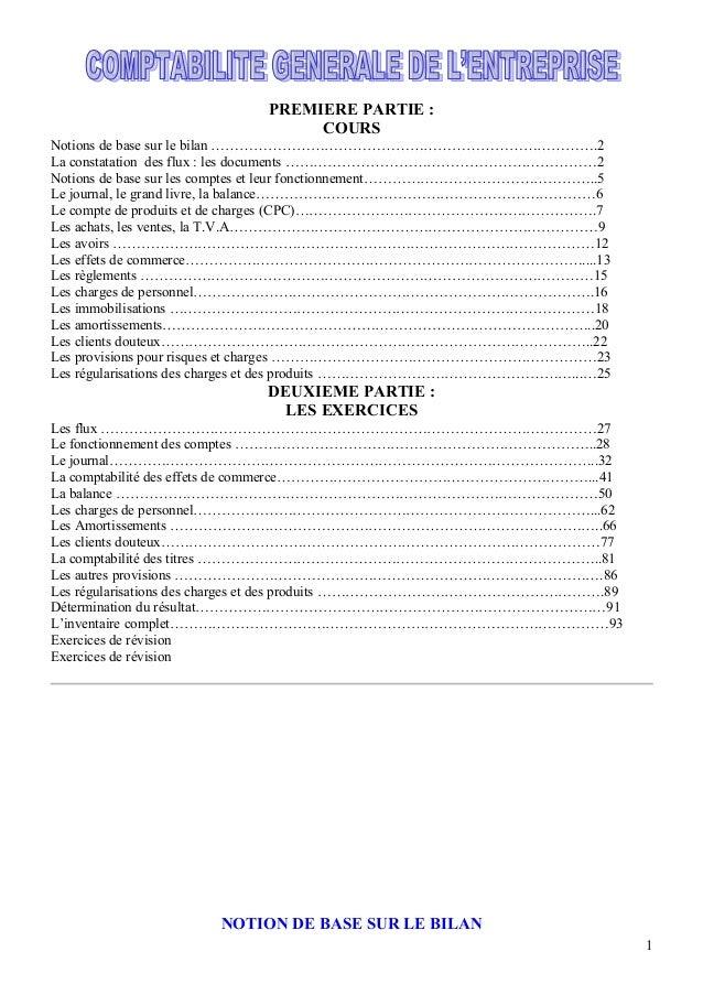 PREMIERE PARTIE : COURS Notions de base sur le bilan ……………………………………………………………………….2 La constatation des flux : les document...