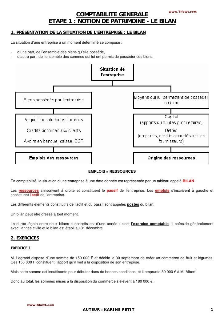 www.Tifawt.com                                COMPTABILITE GENERALE                       ETAPE 1 : NOTION DE PATRIMOINE -...