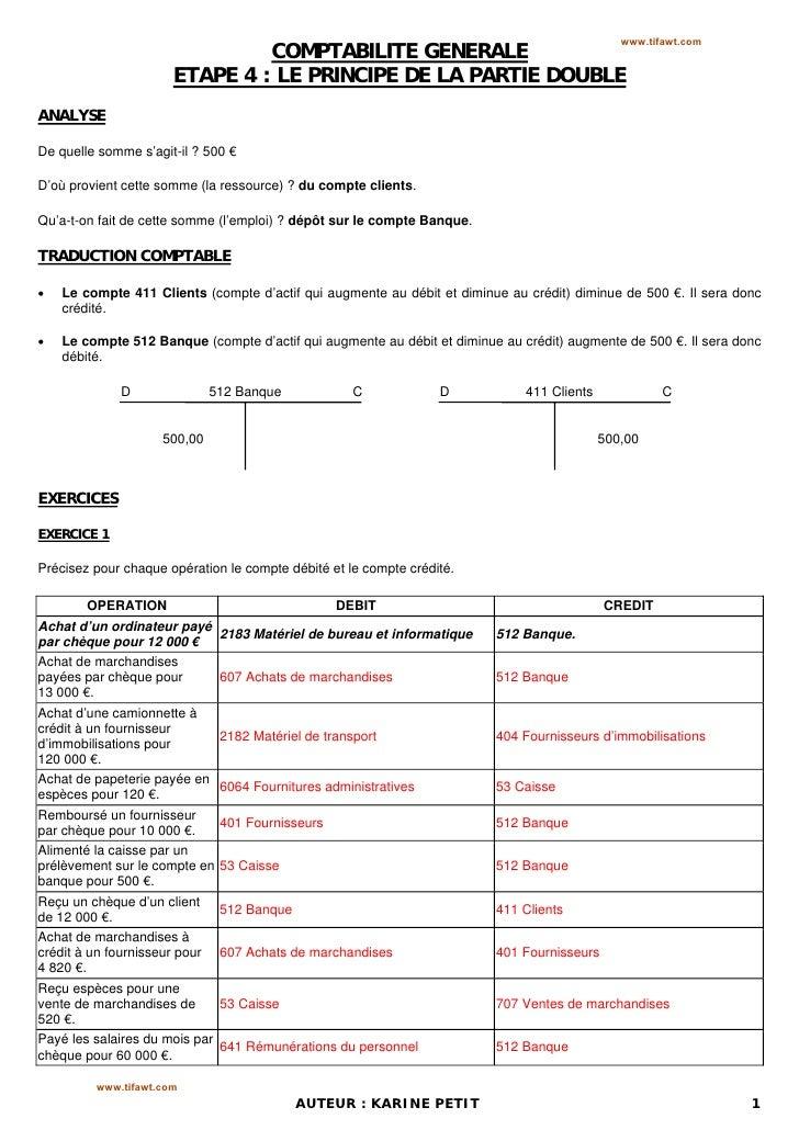 www.tifawt.com                                COMPTABILITE GENERALE                       ETAPE 4 : LE PRINCIPE DE LA PART...