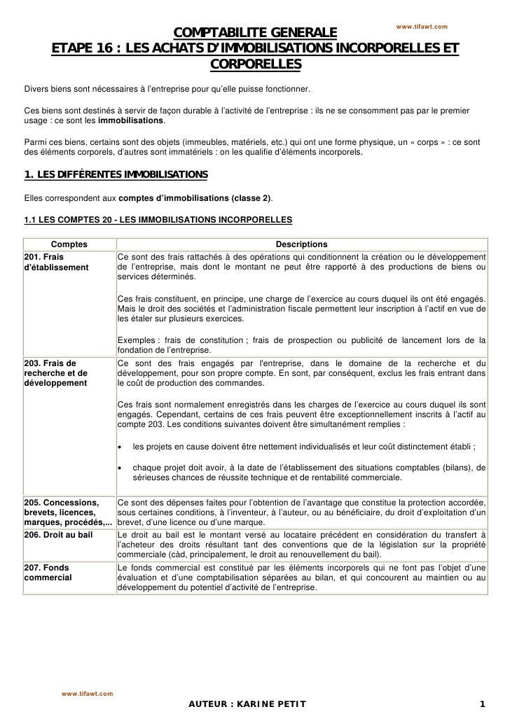 www.tifawt.com                        COMPTABILITE GENERALE       ETAPE 16 : LES ACHATS D'IMMOBILISATIONS INCORPORELLES ET...