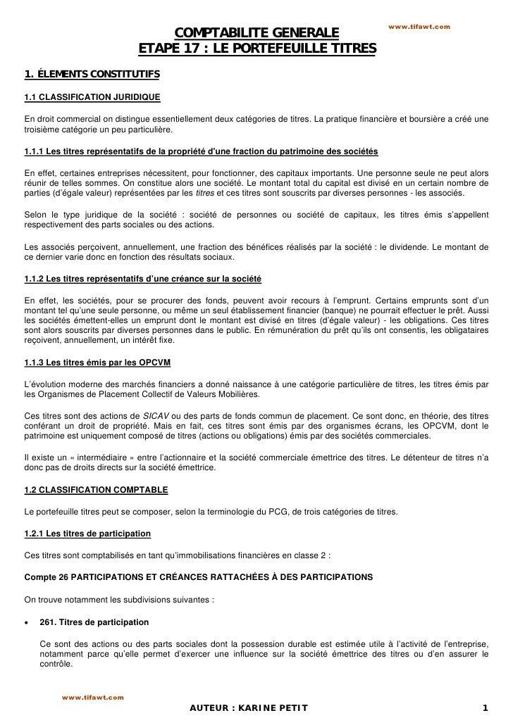 www.tifawt.com                                  COMPTABILITE GENERALE                              ETAPE 17 : LE PORTEFEUI...