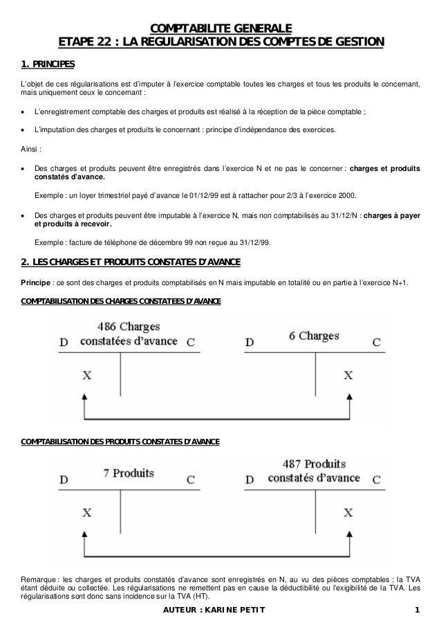 COMPTABILITE GENERALE ETAPE 22 : LA REGULARISATION DES COMPTES DE GESTION 1. PRINCIPES L'objet de ces régularisations est ...