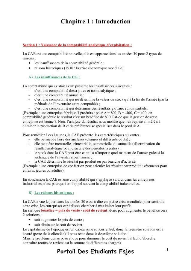 Chapitre 1 : IntroductionSection 1 : Naissance de la comptabilité analytique d'exploitation :La CAE est une comptabilité n...