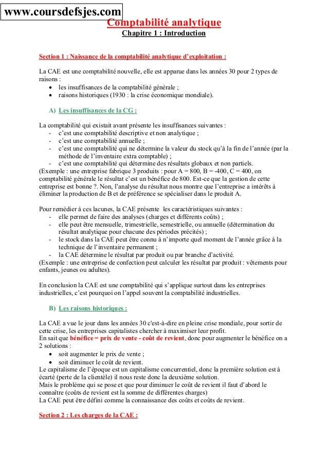 Comptabilité analytique Chapitre 1 : Introduction Section 1 : Naissance de la comptabilité analytique d'exploitation : La ...