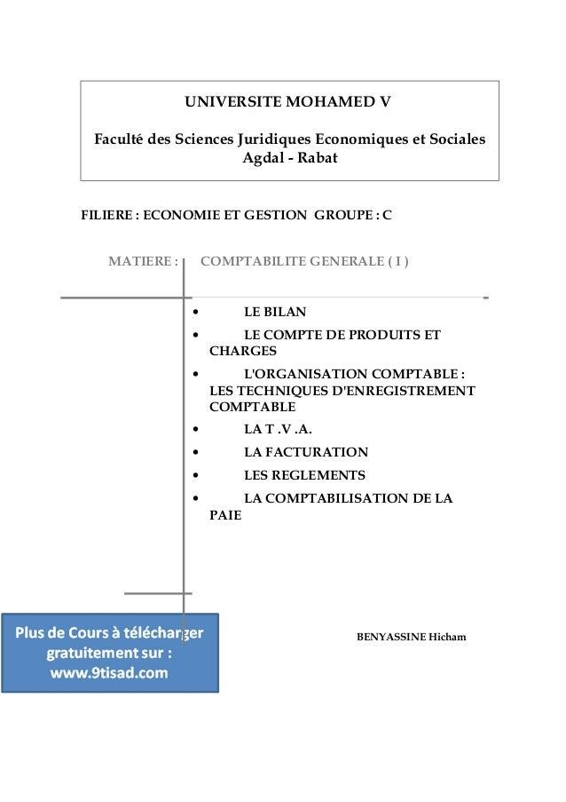 UNIVERSITE MOHAMED V Faculté des Sciences Juridiques Economiques et Sociales Agdal - Rabat FILIERE : ECONOMIE ET GESTION G...