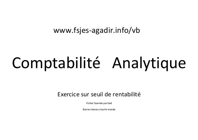 comptabilit analytique exercice  cours