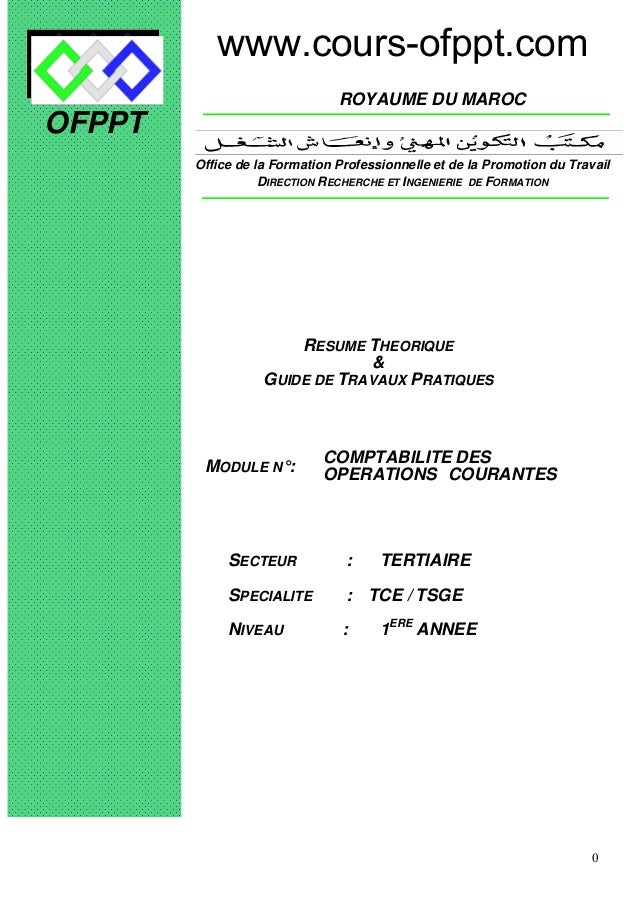 0 OFPPT ROYAUME DU MAROC MODULE N°: COMPTABILITE DES OPERATIONS COURANTES SECTEUR : TERTIAIRE SPECIALITE : TCE / TSGE NIVE...