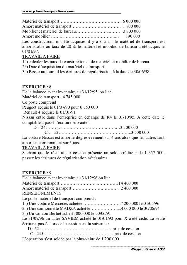 Comptabilite generale exercices et corriges - Materiel de bureau comptabilite ...