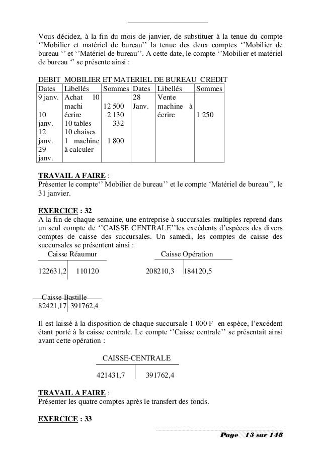 Comptabilite generale exercices et corriges 1 - Materiel de bureau comptabilite ...