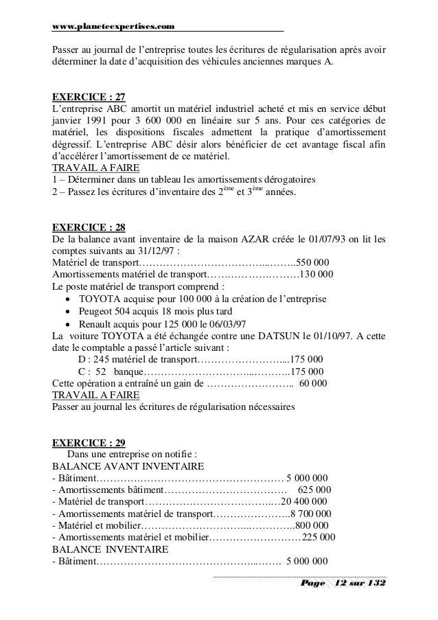 Comptabilite generale exercices et corriges 2 - Exercice d enregistrement comptable ...