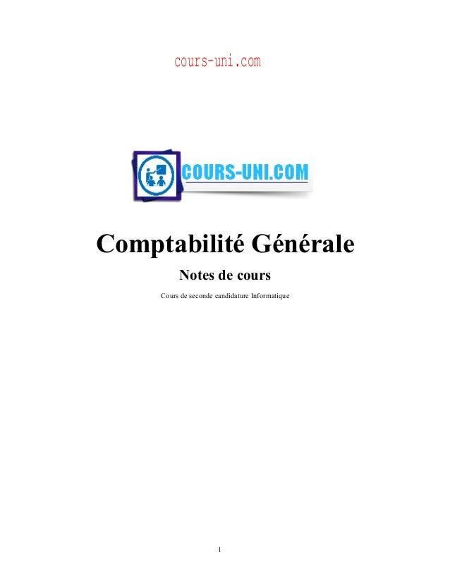 Comptabilité Générale Notes de cours Cours de seconde candidature Informatique 1 cours-uni.com
