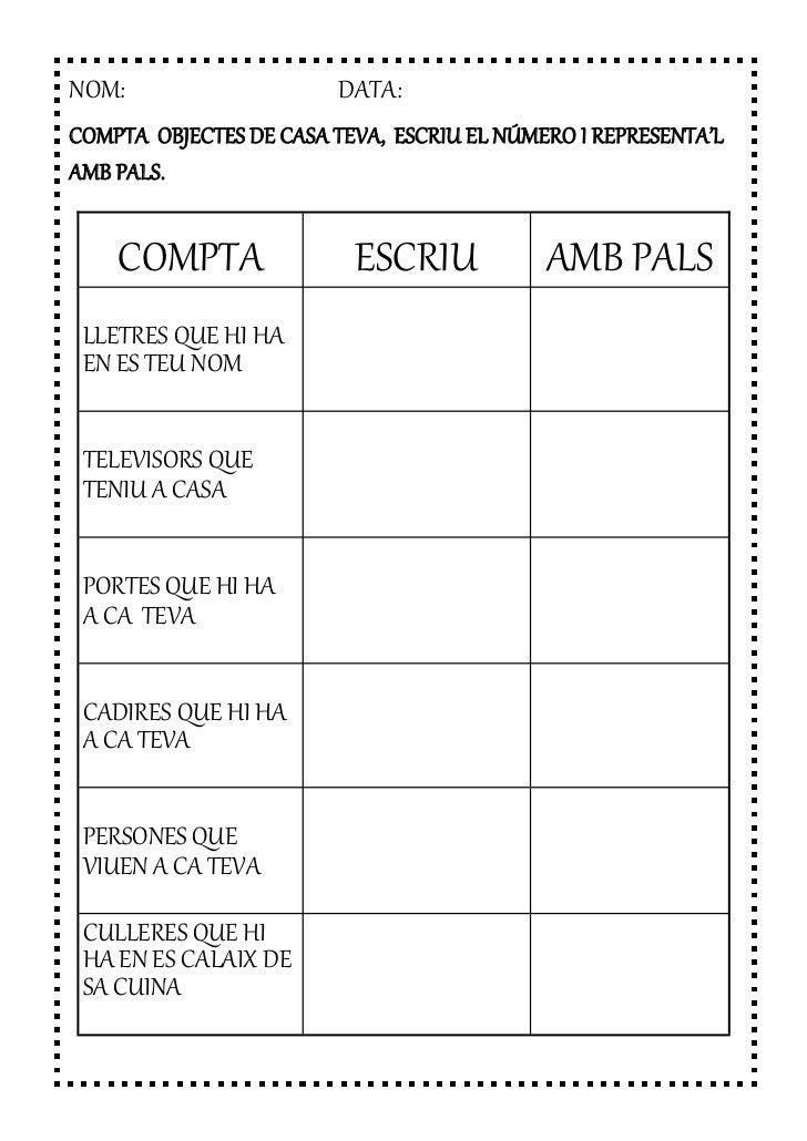 NOM:                     DATA:COMPTA OBJECTES DE CASA TEVA, ESCRIU EL NÚMERO I REPRESENTA'LAMB PALS.    COMPTA            ...