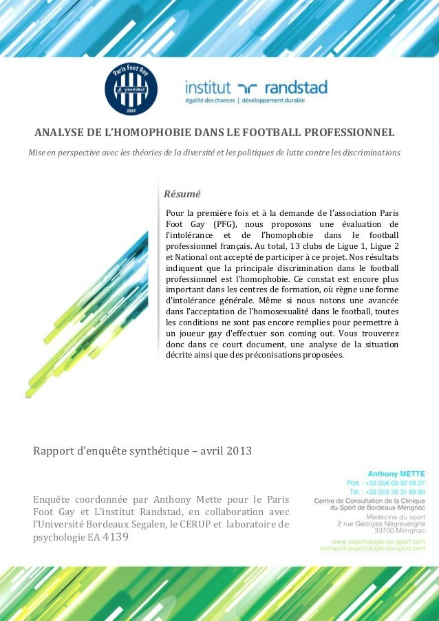 ANALYSE DE L'HOMOPHOBIE DANS LE FOOTBALL PROFESSIONNEL Mise en perspective avec les théories de la diversité et les politi...