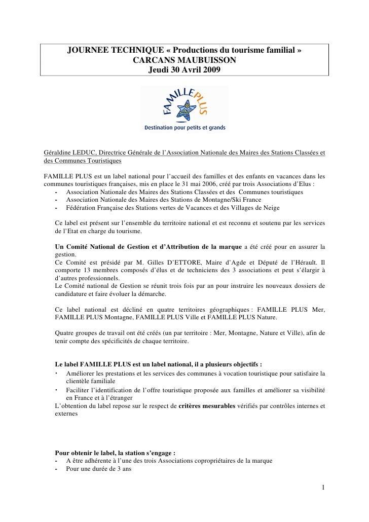 JOURNEE TECHNIQUE « Productions du tourisme familial »                     CARCANS MAUBUISSON                        Jeudi...