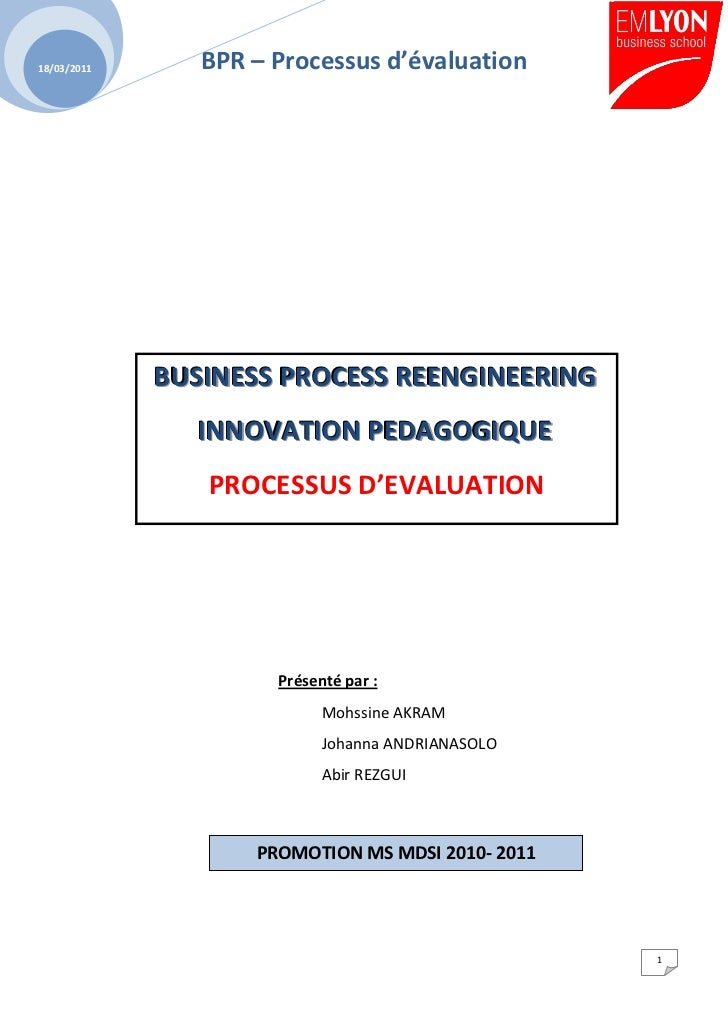 18/03/2011      BPR – Processus d'évaluation             BUSINESS PROCESS REENGINEERING               INNOVATION PEDAGOGIQ...