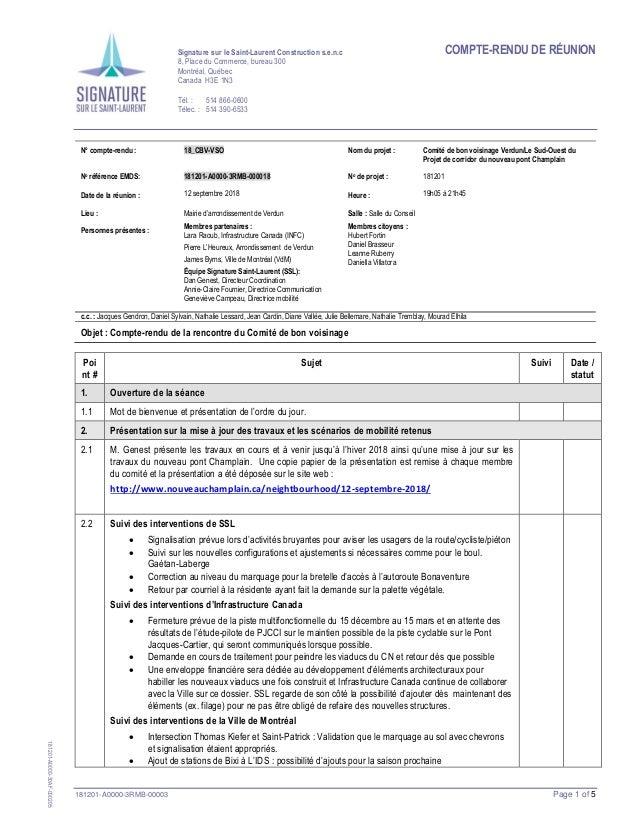 COMPTE-RENDU DE RÉUNION 181201-A0000-3RMB-00003 Page 1 of 5 Signature sur le Saint-Laurent Construction s.e.n.c 8, Place d...