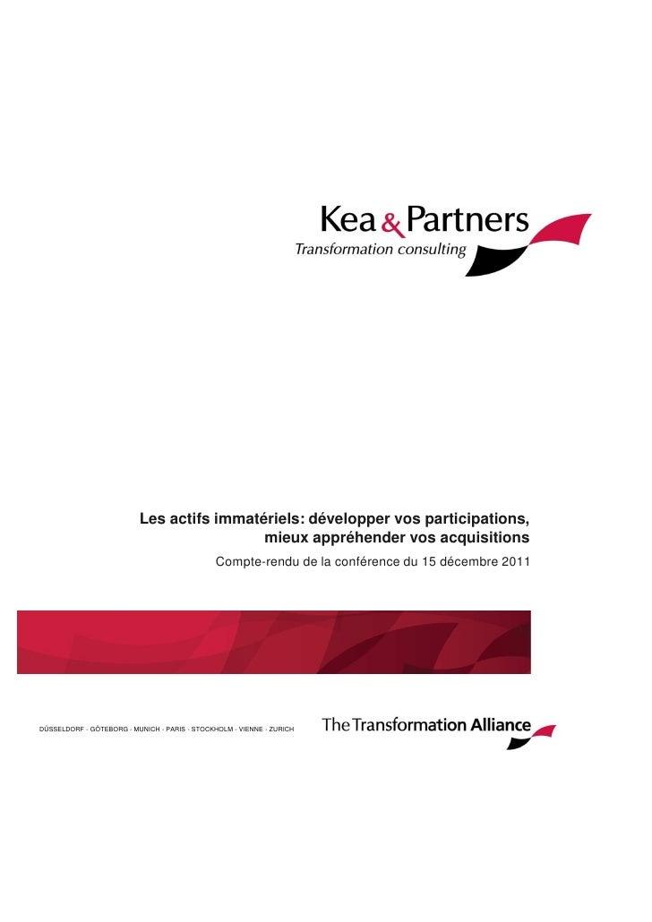 Les actifs immatériels: développer vos participations,                                           mieux appréhender vos acq...