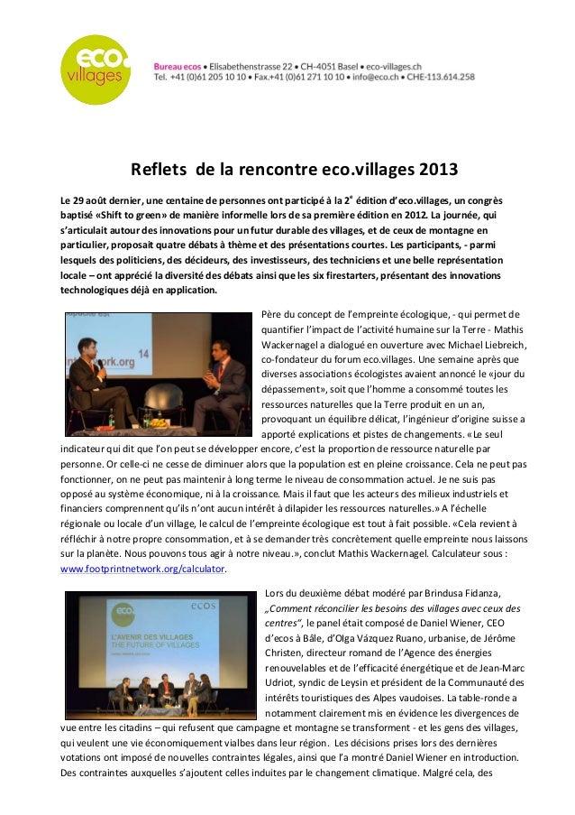 Reflets    de  la  rencontre  eco.villages  2013   Le  29  août  dernier,  une  centaine  ...