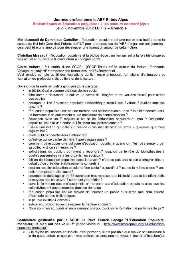 Journée professionnelle ABF Rhône Alpes          Bibliothèques et éducation populaire : « les amours contrarié(e)s »      ...