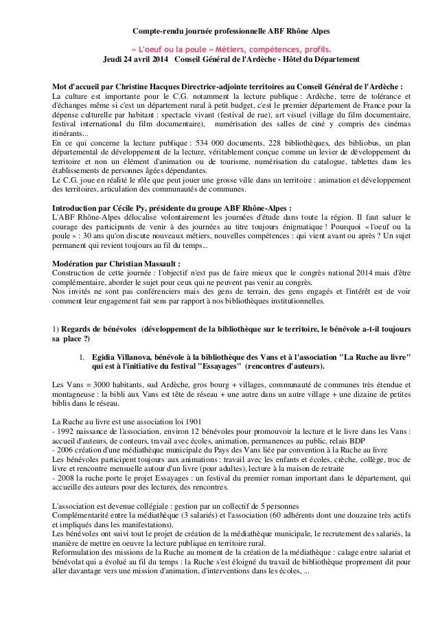 Compte-rendu journée professionnelle ABF Rhône Alpes « L'oeuf ou la poule » Métiers, compétences, profils. Jeudi 24 avril ...