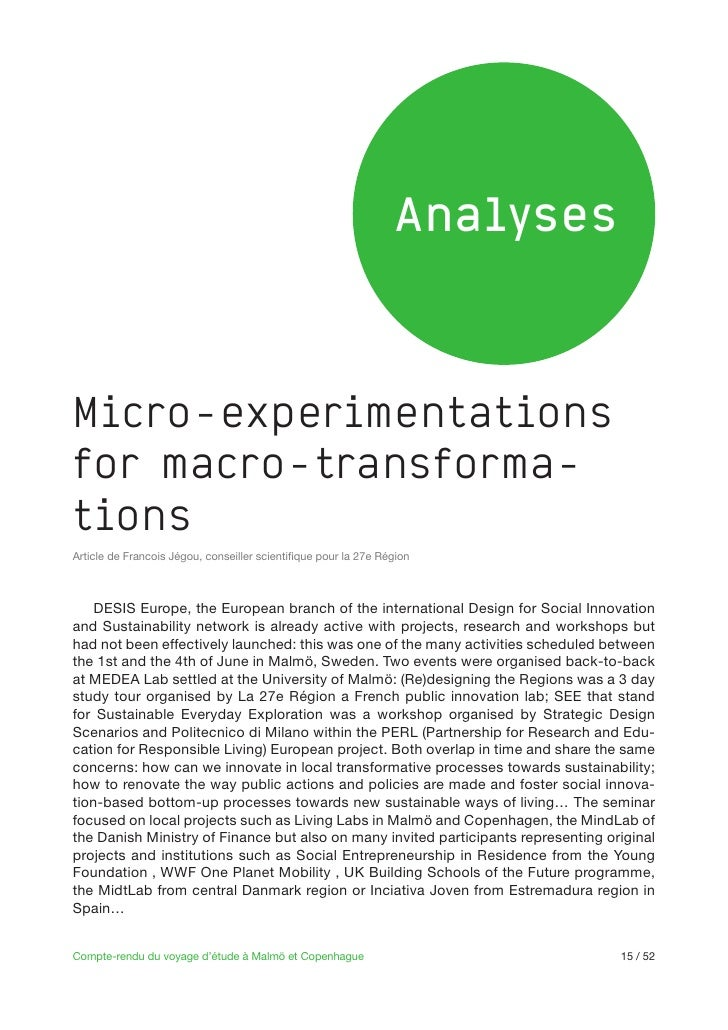 AnalysesMicro-experimentationsfor macro-transforma-tions    DESIS Europe, the European branch of the international Design ...