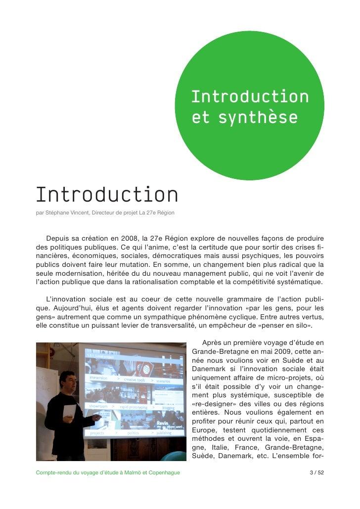 Introduction                                                          et synthèseIntroductionpar Stéphane Vincent, Directe...