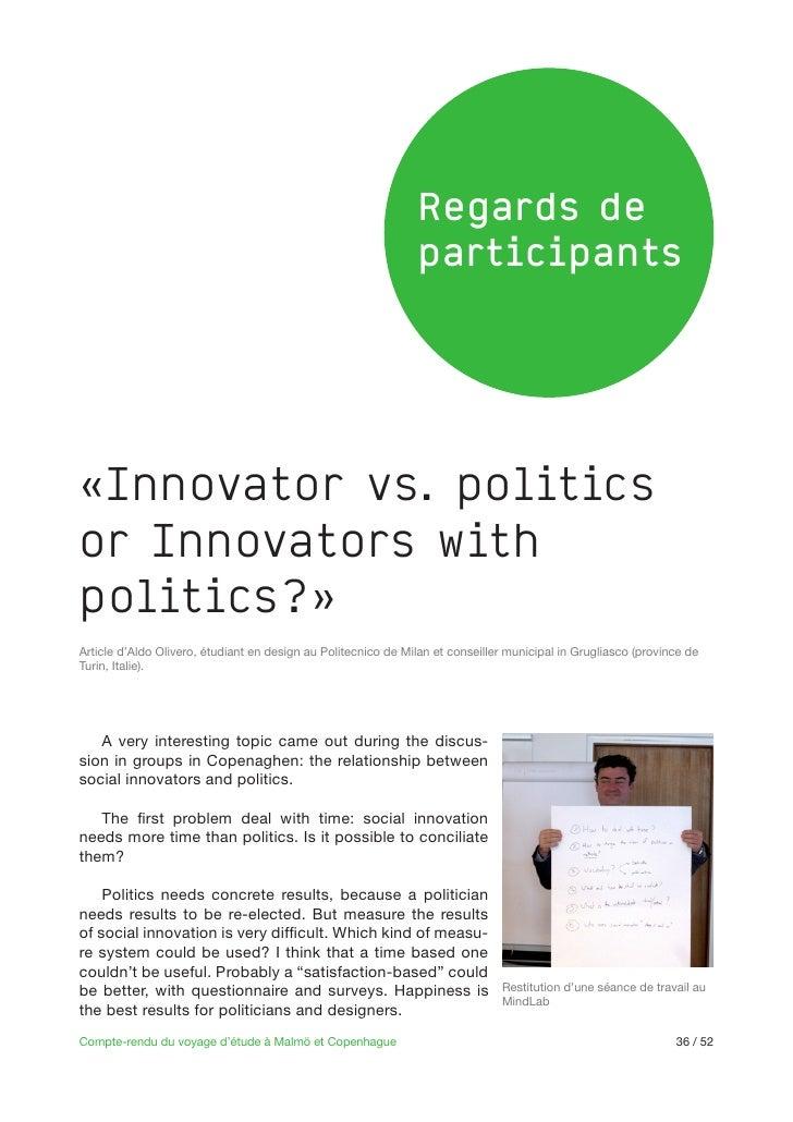 Regards de                                                               participants«Innovator vs. politicsor Innovators ...