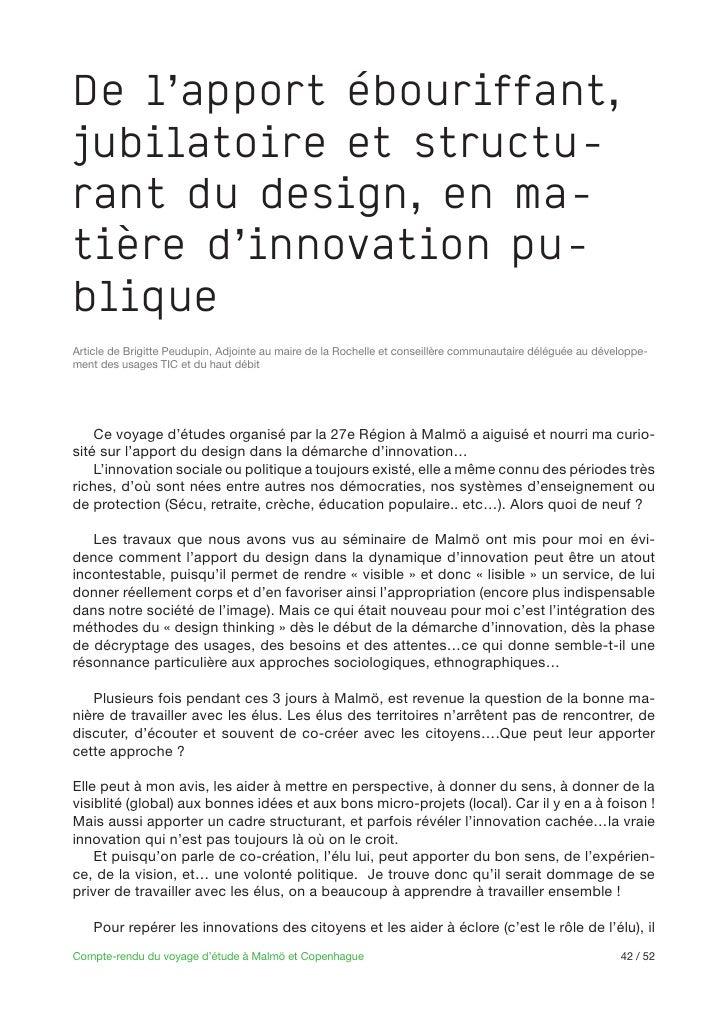 De l'apport ébouriffant,jubilatoire et structu-rant du design, en ma-tière d'innovation pu-bliqueArticle de Brigitte Peudu...