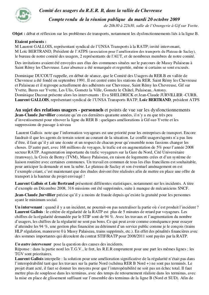 Comité des usagers du R.E.R. B, dans la vallée de Chevreuse                     Compte rendu de la réunion publique du mar...